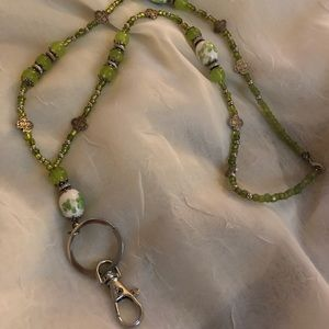 Accessories - Assorted green/white beaded lanyard